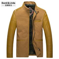 宝路联合男装修身保暖外套春秋新款男士立领拼接羊毛毛呢休闲夹克