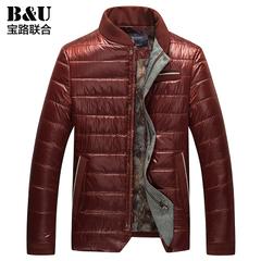宝路联合男装 外套冬装男士立领保暖酒红色韩版修身休闲棉服/棉衣