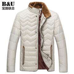 宝路联合男装2015新款冬装羽绒服男士立领白鸭绒拼接外套保暖上衣
