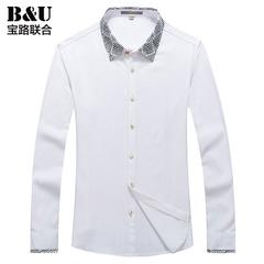 宝路联合男士秋季新品印花方领男士白色衬衫/韩版修身衬衣8502019