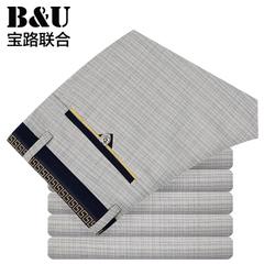 宝路联合男装夏季薄款格子男士休闲裤/修身男裤直筒裤子潮8516053