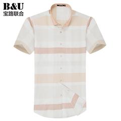 宝路联合男装夏季薄款男士短袖衬衫韩版修身格子休闲衬衣8502031
