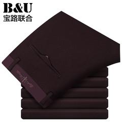 宝路联合2015秋季新品裤子天丝男裤纯色商务男士休闲裤潮8516122