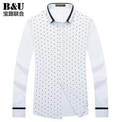 宝路联合男士休闲衬衫2015秋季新品男装韩版修身纯棉衬衣8502037