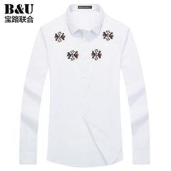 宝路联合男士休闲衬衣2015秋季新品男装韩版修身长袖衬衫8502039