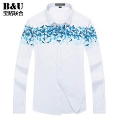 宝路联合2015秋季新品纯棉衬衣男装韩版修身休闲长袖衬衫8502068