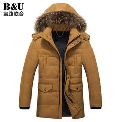 宝路联合男士外套冬装新品韩版加厚保暖棉衣男装连帽修身休闲棉服
