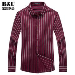 宝路联合男装新款正品长袖衬衣韩版修身格子提花商务休闲男士衬衫