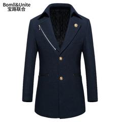 宝路联合冬季新款羊毛呢子大衣男中长款外套英伦新款男装加厚上衣