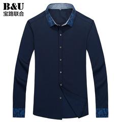 宝路联合男士衬衫2015秋季新品男装韩版修身长袖休闲衬衣8502061