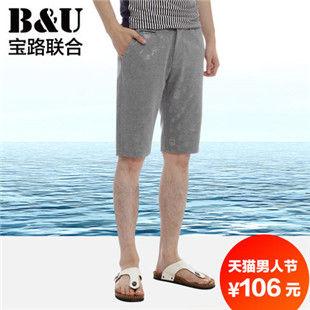 宝路联合男装 夏季男士休闲短裤/五分裤 韩版时尚花纹潮流M9531