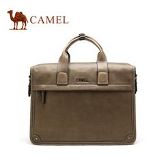 camel骆驼男包 牛皮商务包复古牛皮男士手提包休闲包男士商务包包