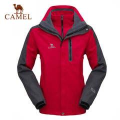 【热销14万件】CAMEL骆驼户外三合一两件套 男女抓绒保暖冲锋衣