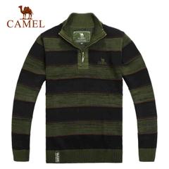 CAMEL骆驼户外 休闲保暖  翻领条纹 套头男款长袖毛衣秋冬 正品