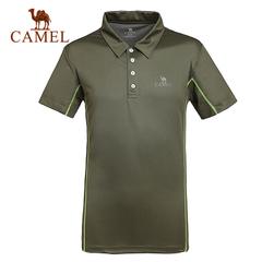 CAMEL骆驼户外速干T恤 短袖 透气衣 男女情侣款翻领速干T恤 正品