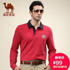 CAMEL骆驼男装 春季潮流休闲t恤 正品 翻领男士长袖t恤棉质T恤衫