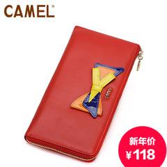 骆驼新款女士长款钱包横款羊皮女包钱夹蝴蝶结拉链手拿票夹手机包