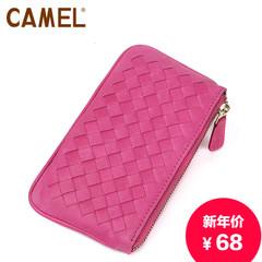 骆驼女士休闲证件包带拉链编织牛皮小包时尚零钱包卡片包