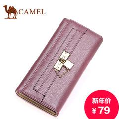 骆驼新款女士真皮长款钱包横款休闲女包包牛皮搭扣皮夹商务卡包