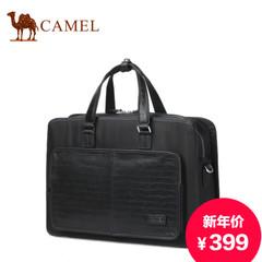骆驼男士休闲手提包横款商务尼龙包单肩包蜥蜴纹公文包手提袋