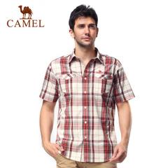 CAMEL骆驼户外男款休闲衣 格子衬衫 休闲翻领短袖正品衣