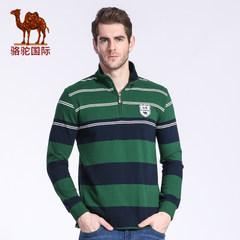 骆驼春季商务休闲条纹直筒高领t恤青年男士休闲长袖棉t恤