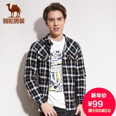 Camel骆驼旗舰店男装春季潮流商务休闲男士尖领格子衣 长袖衬衫