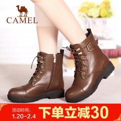 camel骆驼女靴短靴冬季中跟短靴子加绒骑士靴子