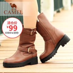 【清仓特价】camel骆驼女靴牛皮中筒靴时尚高跟冬季女潮靴加绒