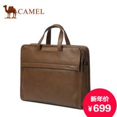 骆驼真皮男包头层牛皮手提包男士横款商务公文包休闲斜跨包