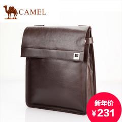 骆驼真皮男包单肩包男斜挎包休闲商务包男士包包牛皮包背包竖款