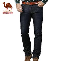 camel骆驼男装  秋冬牛仔裤保暖厚绒里商务休闲裤直筒加厚