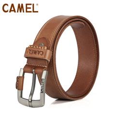 camel骆驼皮带 牛皮休闲百搭腰带 男士皮带潮流压线皮带裤带腰带