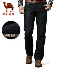 camel骆驼男装 牛仔裤保暖厚绒里商务休闲裤韩版潮流男裤