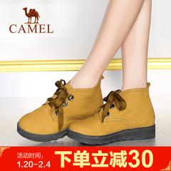 Camel骆驼女靴潮流舒适女鞋时装靴棉鞋皮靴短靴休闲靴子系带女靴