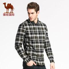 骆驼 秋装棉质男士休闲青年长袖修身格子衬衣潮男衬衫