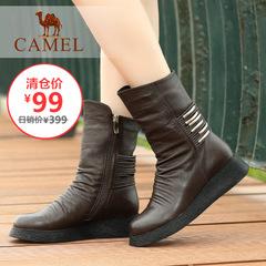 【清仓特价】Camel骆驼女靴靴森女冬季平跟中筒靴保暖加绒靴子