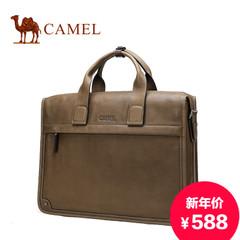 骆驼男士手提包横款复古男包商务牛皮包单肩包斜挎包真皮男公文包