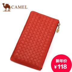 骆驼新款女士手拿包编织牛皮女包横款手挽包休闲真皮手包小包