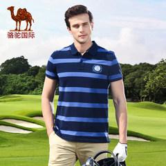 骆驼男装短袖条纹T恤韩版夏装新款棉质polo衫时尚直筒男T恤 潮