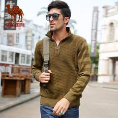 骆驼 直筒套头加厚保暖毛衣男士立领条纹韩版纯棉针织衫毛