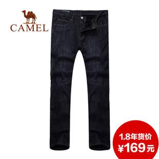 骆驼户外正品男装 休闲直筒 牛仔裤 保暖厚绒里 2F47005