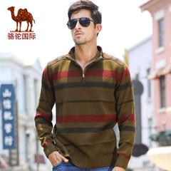 骆驼秋冬款潮流撞色直筒立领毛衣男士套头装针织衫男