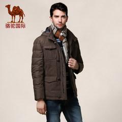 骆驼羽绒服男款连帽男款修身休闲厚白鸭绒条纹羽绒服外套