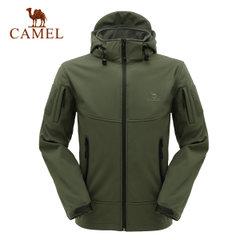 CAMEL骆驼抓绒软壳户外服 男款保暖防风鲨皮软壳衣 正品