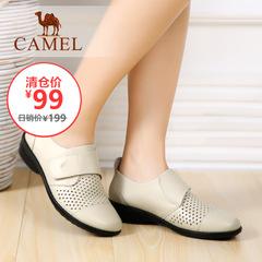 【特价清仓】Camel 骆驼夏季热销魔术贴单鞋坡跟镂空休闲女鞋子