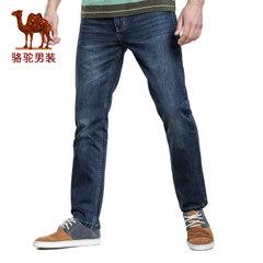 Camel骆驼 新款时尚男士商务休闲直筒牛仔裤中腰小直脚棉质长裤子