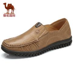 骆驼男鞋真皮软面皮休闲鞋套脚厚底鞋流行豆豆鞋潮流男鞋蹬
