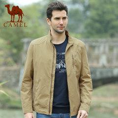 骆驼 春装男士商务休闲外套直筒纯色立领夹克男外套