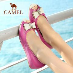camel骆驼女鞋夏季蝴蝶结羊皮女鞋鱼嘴鞋女单鞋休闲鞋女 平跟单鞋